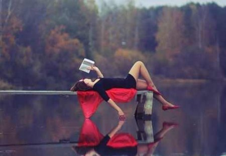 one true relaxation - girl, nature, pose, book, lake