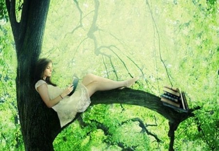 in full contact with nature - leaves, books, girl, pleasure, green, nature, tree