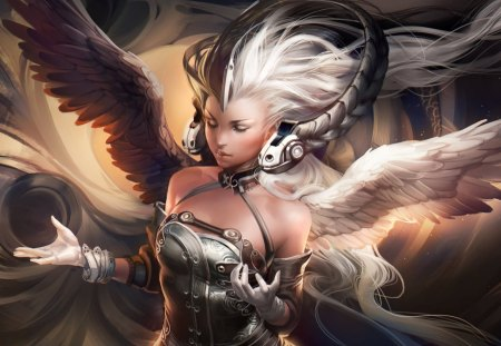 Ying Yang Goddess - wings, ying yang goddess, glove, long hair, closed eyes, hot, goddess, headphone, angel, sexy, cool, fantasy, white hair, sakimichan, ying yang, art