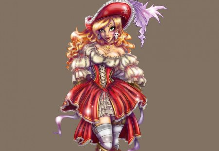 Cute Outfit - fantasy woman, stockings, outfit, red, cute, dress, fantasy, woman, girl, hat, attire, feather, youth