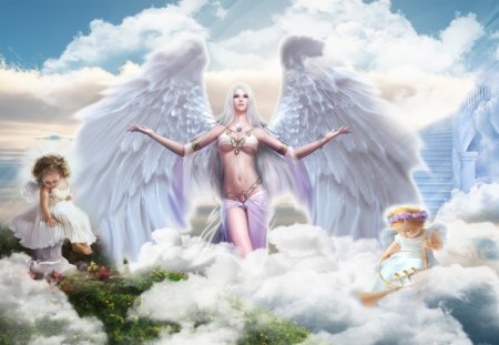 Angels - fantasy, heaven, beautiful, angels, light