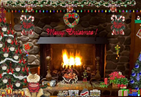Christmas Fireplace - holidays, christmas, holiday, fireplace