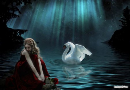 Sitting By the Pond - girl, sitting, fantasy, swan