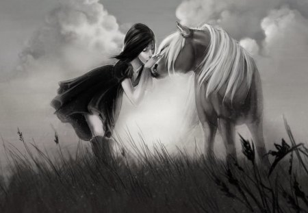 ♥ - horse, kiss, wp, girl, bw, love, painting, nature, field, friends
