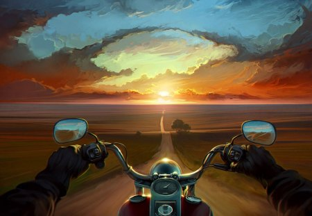 Biker on the ground - horizont, fields, motorcycle, road, splendor, colors, speed, open road, great, nature, amazing, sun, biker, beautiful, magical, awesome