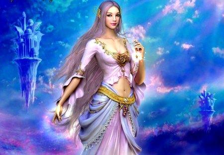 GORGEOUS GODDESS - etain, sun, shaiya, game wallpapers, dreamworld, guidance of goddess, islands, flight, towers, hyung jun kim, flying islands, pink clouds, sky, etaine, eun nee shoi, beauty, dawn, light and darkness, fantasy, the goddess