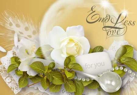 Endless Love - flowers, romantic, gold, beads, fleurs, bubble, rose, lace, spoon, love, leaves