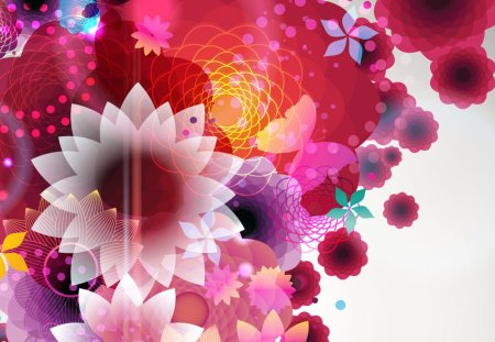Floral Extravaganza - pink, collage, fleurs, flowers, papillon, extravagant, abstract, butterfly, bright