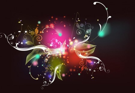 FRACTAL SCROLLS - paisley designs, colours, pink, dark, scrolls, leaf design, bright, rainbows