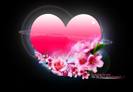 MESSAGE FROM THE HEART - hearts, flowers, friendship, pink, roses, affection, valentine, romance, black, love