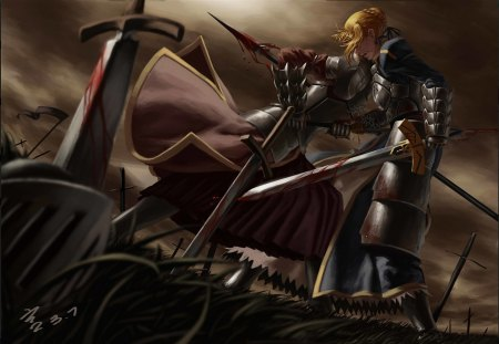 Fate Stay Night - armor, blonde hair, weapons, knight, original, fantasy girl, anime, sword, warrior, fantasy, female, blood, saber, fate stay night, anime girl