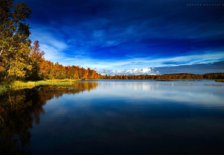 Blue Autumn In Norway - autumn, hd, photography, lake, seasons, abstract