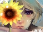 Anime face and sunflower