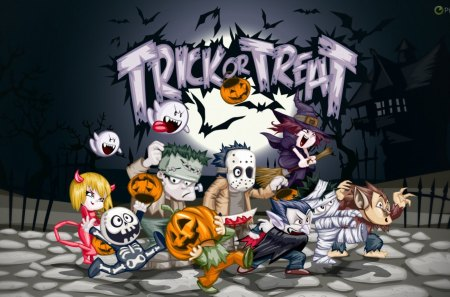 TRICKS OR TREATS - tricks, customes, treats, halloween