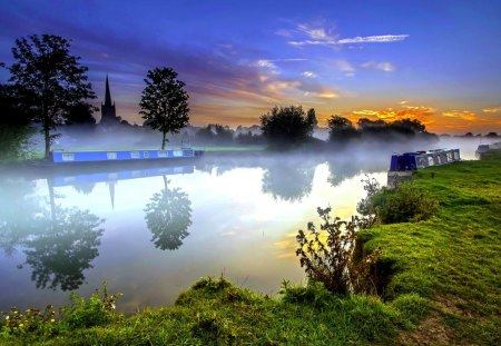 RIVER in FOG - ships, city, sunset, fog, trees, structures, river