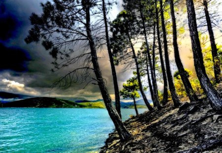 Riverbank - sun rays, ovely, blue, beautiful, lakeshore, summer, trees, lake, shore, riverbank, nature, water, sunlight, nice, clouds, river, sky, slope, reflection