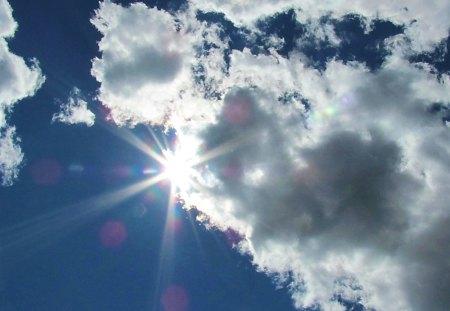 Rays Of Sunshine - rainbow, rays, sunshine, clouds, sky, nature, sunrays, sun