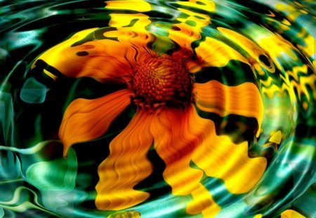 Sunflower Ripples - yellow, sunflower, flower, ripples
