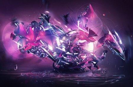 DESTRUCTION OF THE DRAGON - purple, fantasy, shards, pink, shattered, fractal
