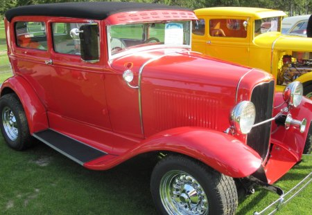 1931 Ford - grass, headlights, Ford, red, tires, Photography, yellow, green, black