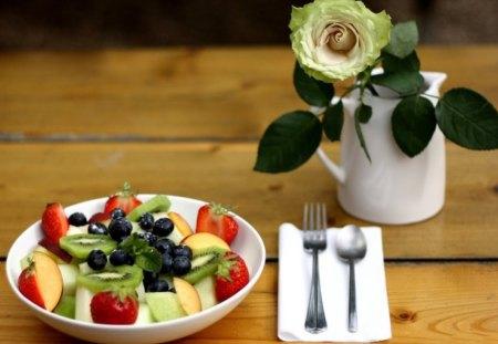 *** So Romantic *** - roses, salat, plate, fruits