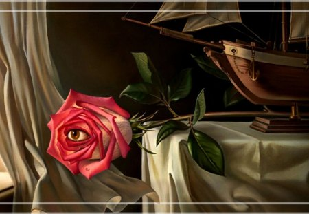 Rose Eye F5 - painting, surrealism, surreal, abstract, surrealist, rose, art, artwork, wide screen