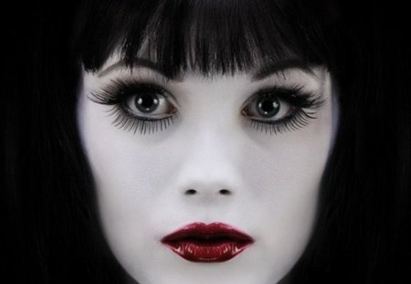 portrait - eyelashes, beautiful face, bangs, brunette, eyes