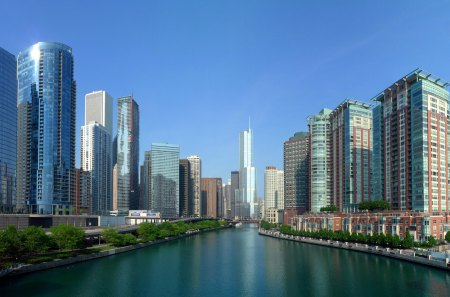 Chicago River - skyscrapers, blue, rivers, usa, sky, beautiful, architecture, chicago, nature