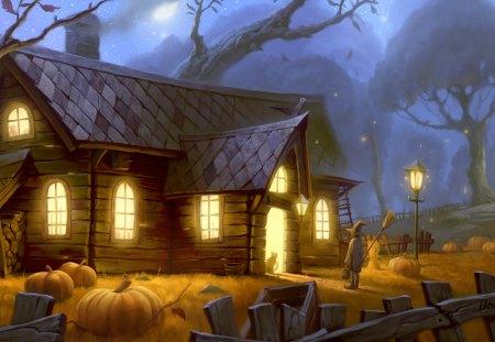 Pumpkin Farm - farm, tree, pumpkins, pumpkin, growing, field, pumpkin patch, house, night, chimny, garden