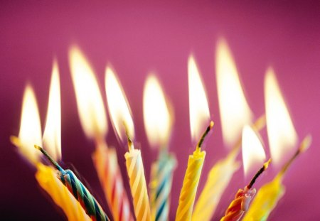 HAPPY BIRTHDAY CANDLES - children, flames, fire, candles, cakes, parties, celebrations, purple, birthdays, lights, kids