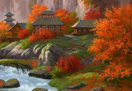 Autumn in Fantasy Japan - town, yellow, blue, forest, japan, oriental, buildings, green, red, village, asian, rocks, water, fall, fantasy, river, autumn, orange, houses