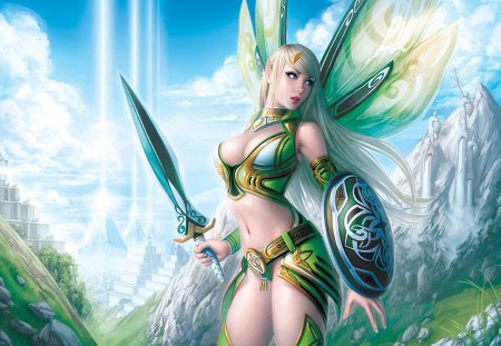 Woman Warrior - castle, shield, warrior, sexy, fairy, elf, brave, cloud, armor, sky, hot, sword, cool, fantasy, woman warrior, elf girl, fairy wings