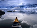 canoe in an alaskan bay