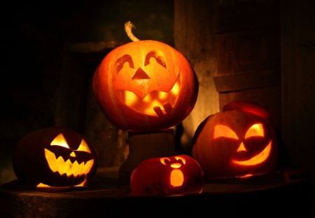 Funny Pumpkin Lights - jack-o-lantern, funny, pumpkin, lights