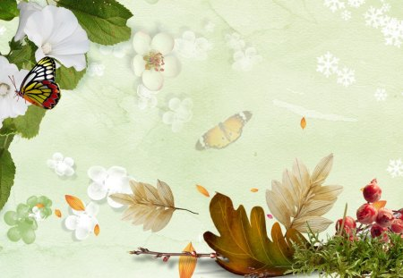 Celebrate the Seasons - sakura, berries, blooms, abstract, fleurs, winter, snowflakes, blossoms, autumn, flowers, butterfly, summer, fall, papillon, frost, snow, spring, leaves