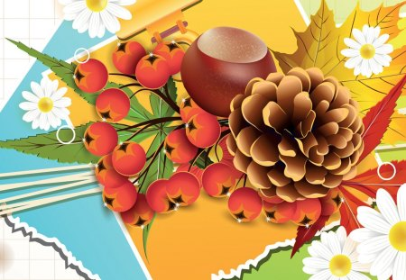 Fall and Daisies - autumn, colorful, flowers, acorn, berries, abstract, collage, fall, bright, paper, fleurs, nuts, daisies, pine cone