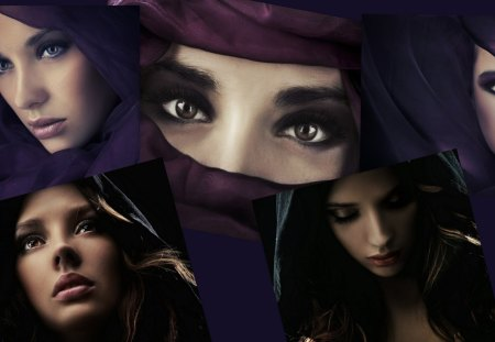 Women - girls, mideastern, gorgeous, ladies, collage, hiding, eyes, sexy, beautiful, woman
