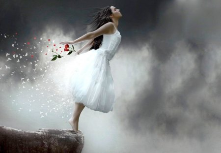 FLY WITH THE WIND - flowers, girl, cliff, petals, fall