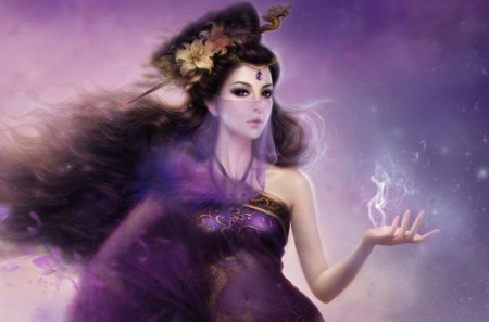 Princess - flowers, orient, magic, purple