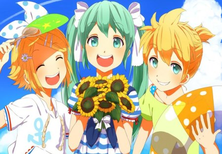 Miku,Rin & Len On Vacation!!! - blue sky, blonde, girls, flowers, kagamine rin, happy, blue eyes, hatsune miku, cute, summer, kagamine len, long hair, short hair, green hair, friends, fun, together, beach, vacation, boy, vocaloid