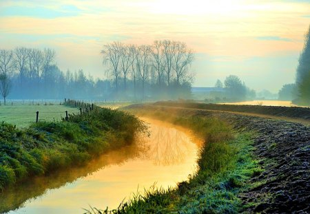 RIVER FOG - morning, river, nature, fog