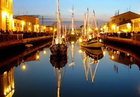 illuminated boats - water, night, boats, light