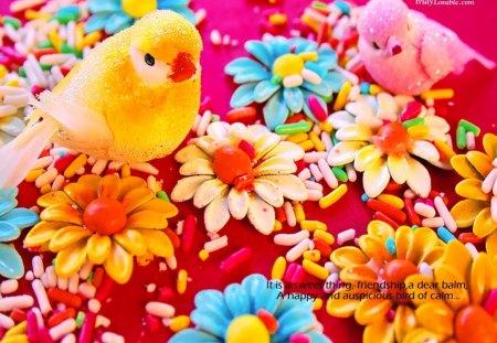 Sweet Friendship - friendship, birds, blue, red