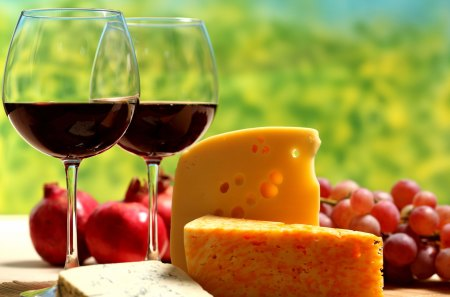 Cheese and Wine - drink, fooodstuff, grapes, fruits