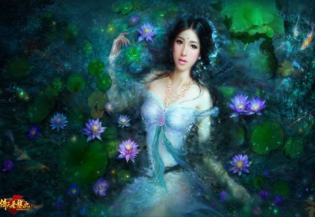 Ruoxing Zhang - beauty, lipstick, ruoxing zhang, jewelry, cool, hot, china girl, black hair, pretty, original, female, lying, sexy, water, smile, fantasy, flower, woman, lady, girl