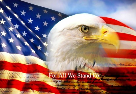 For All We Stand For - beautiful, digital, flag, art, abstract, america, eagle