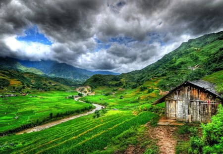 Beautiful Country - beautiful, mountains, nature, hillside, cabin