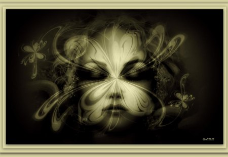 She is hiding behind a mask - art, woman, girl, mask, flower