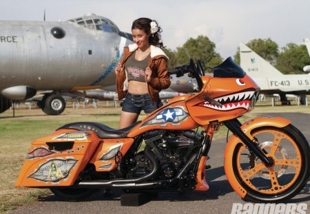 Veggie Bomber - sexy, model, hd, bike, custom