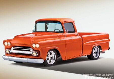 1959 Chevrolet Apache - orange, bowtie, truck, classic, gm